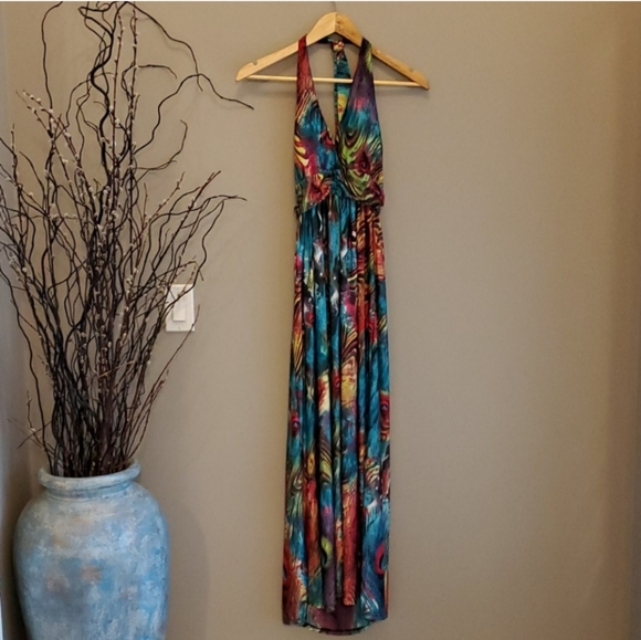 ❄️ 3/$25 Colorful Peacock Halter Maxi Dress
